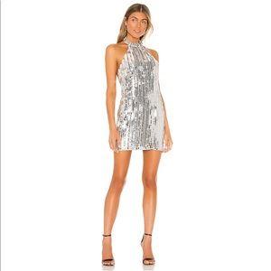 REVOLVE Lovers +Friends Harvey Silver Mini Dress